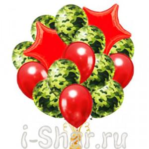 Фонтан из шаров Камуфляж на красном